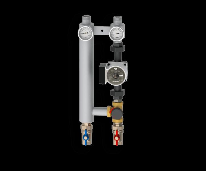 Насосная группа с трехходовым смесительным клапаном из нержавеющей стали Север R S 25/60