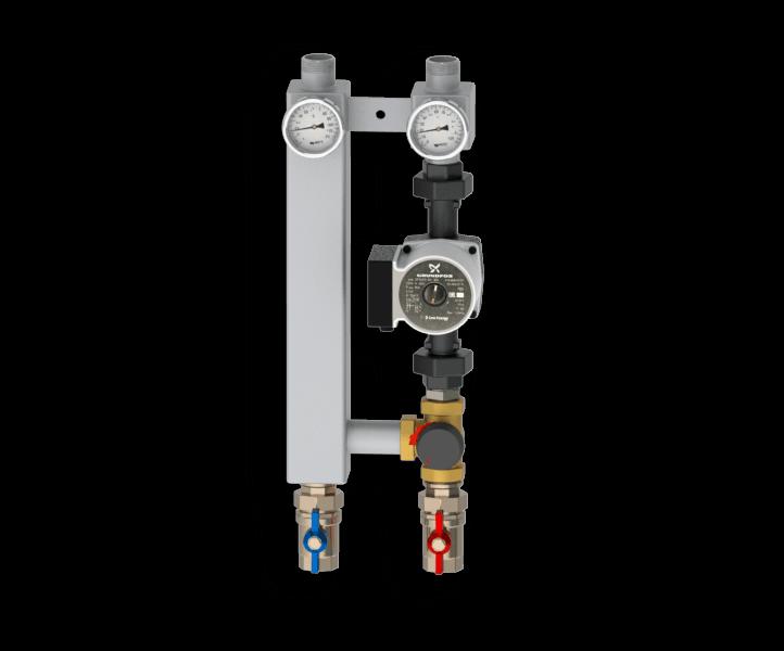 Насосная группа с трехходовым смесительным клапаном из нержавеющей стали Север S 25/60