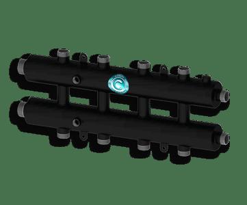 Гидрострелка Гидроразделитель Гидравлический коллектор универсальный на 5 контуров с муфтами для термометров и воздухоотводчика