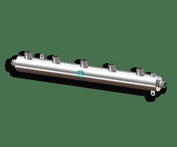 Гидрострелка Гидроразделитель Гидравлический коллектор универсальный на 5 выходов с муфтой для воздухоотводчика из нержавеющей стали