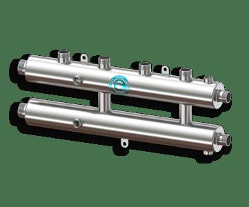 Гидрострелка Гидроразделитель Гидравлический коллектор универсальный на 3 контура с муфтами для термометров и воздухоотводчика из нержавеющей стали