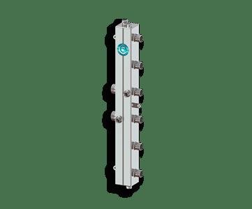 Гидрострелка Гидроразделитель Гидравлический коллектор вертикальный на 3 контура с муфтами для термометров, воздухоотводчиков и грязевиков из нержавеющей стали