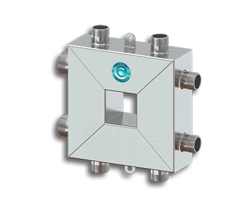 Гидрострелка Гидроразделитель Гидравлический разделитель совмещенный с коллектором компактный на 3 контура 50 кВт из нержавеющей стали