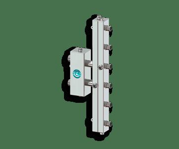 Гидрострелка Гидроразделитель Гидравлический разделитель совмещенный с коллектором вертикальный на 3 контура 70 кВт из нержавеющей стали