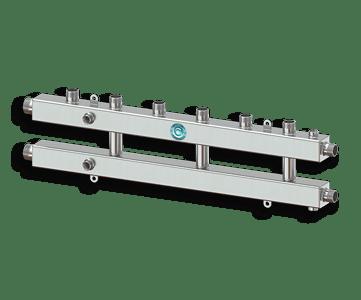 Гидрострелка Гидроразделитель Гидравлический коллектор универсальный на 4 контура с муфтами для термометров и воздухоотводчика из нержавеющей стали