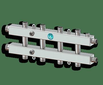 Гидрострелка Гидроразделитель Гидравлический коллектор универсальный на 5 контуров с муфтами для термометров и воздухоотводчика из нержавеющей стали