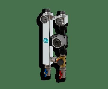 Гидрострелка Гидроразделитель Насосная группа с трехходовым смесительным клапаном из нержавеющей стали Север S 25/60
