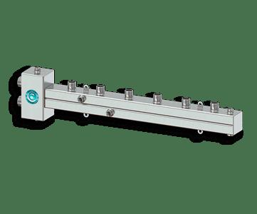 Гидрострелка Гидроразделитель Гидравлический разделитель совмещенный с коллектором горизонтальный на 3 контура 50 кВт из нержавеющей стали