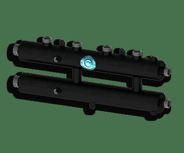 Гидрострелка Гидроразделитель Гидравлический коллектор универсальный на 3 контура с муфтами для термометров и воздухоотводчика