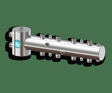 Гидрострелка Гидроразделитель Гидравлический разделитель совмещенный с коллектором горизонтальный на 4 контура 50 кВт из нержавеющей стали