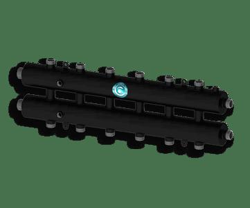 Гидрострелка Гидроразделитель Гидравлический коллектор универсальный на 7 контуров с муфтами для термометров и воздухоотводчика