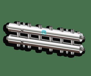 Гидрострелка Гидроразделитель Гидравлический коллектор универсальный на 7 контуров с муфтами для термометров и воздухоотводчика из нержавеющей стали