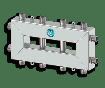 Гидрострелка Гидроразделитель Гидравлический разделитель совмещенный с коллектором компактный на 5 контуров 50 кВт из нержавеющей стали