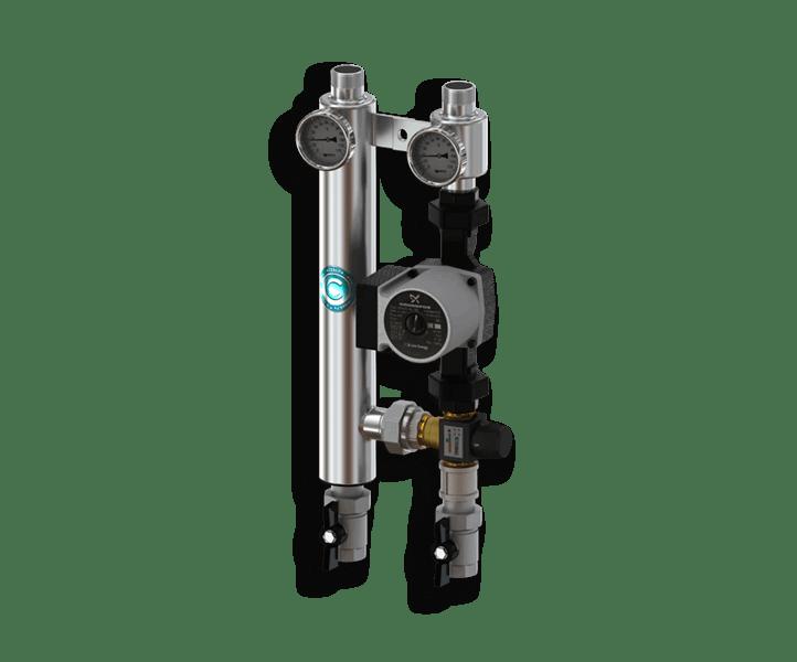 Гидрострелка Гидроразделитель Насосная группа с термостатическим смесительным клапаном из нержавеющей стали Север R TS 25/60