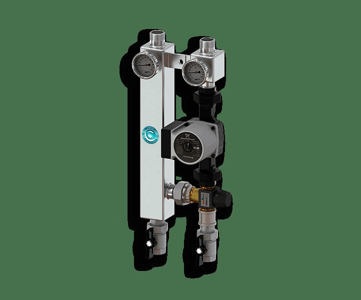Гидрострелка Гидроразделитель Насосная группа с термостатическим смесительным клапаном из нержавеющей стали Север TS 25/60