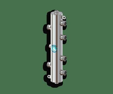 Гидрострелка Гидроразделитель Гидравлический разделитель на 2 контура из нержавеющей стали 50 кВт, с муфтами под воздухоотводчик, грязевик и магнитный уловитель