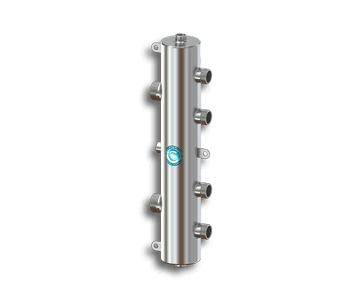 Гидрострелка Гидроразделитель Гидравлический разделитель на 2 контура из нержавеющей стали 70 кВт, с муфтами под воздухоотводчик, грязевик и магнитный уловитель
