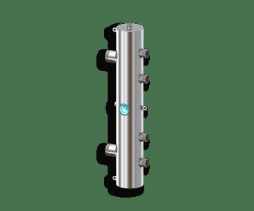 Гидрострелка Гидроразделитель Гидравлический разделитель на 2 контура из нержавеющей стали 140 кВт, с муфтами под воздухоотводчик, грязевик и магнитный уловитель
