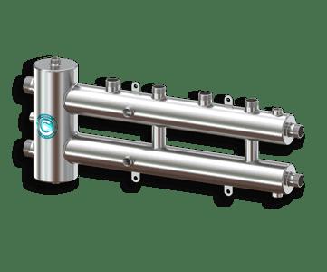 Гидрострелка Гидроразделитель Гидравлический разделитель совмещенный с коллектором на 3 контура 70 кВт из нержавеющей стали