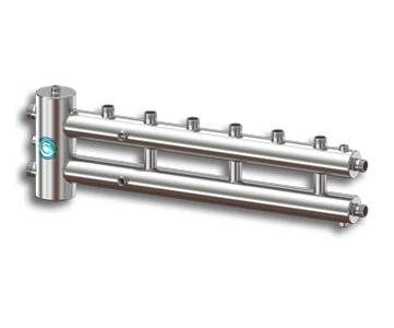 Гидрострелка Гидроразделитель Гидравлический разделитель совмещенный с коллектором на 4 контура 70 кВт из нержавеющей стали